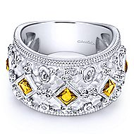 925 Silver Roman Wide Band Ladies' Ring angle 1