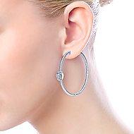 925 Silver Scalloped Classic Hoop Earrings