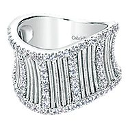 925 Silver Scalloped Fashion Ladies' Ring angle 1