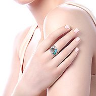 925 Silver Souviens Wide Band Ladies' Ring angle 5