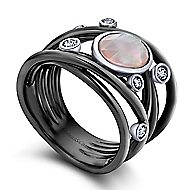 925 Silver Souviens Wide Band Ladies' Ring angle 3