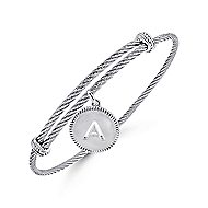 925 Silver/Stainless Steel Initial A Bangle