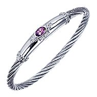 925 Silver Steel My Heart Twisted Cable Bangle angle 2
