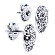 925 Silver Victorian Stud Earrings angle 2