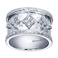 925 Silver Victorian Wide Band Ladies' Ring angle 5