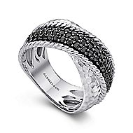 925 Silver Wide Dual Band Black Spinel Ladies Ring