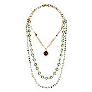 925 Silver Yellow Plated Infinite Gems Station Necklace angle 2