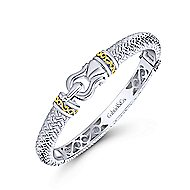 925 Sterling Silver & 18k Yellow Gold Vintage Inspired Bangle Bracelet