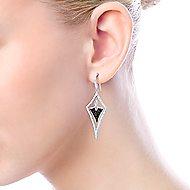 925 Sterling Silver Black Spinel Kite Shaped Drop Earrings