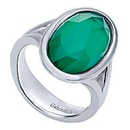 925 Sterling Silver Classic Oval Rock Crystal & Green Onyx Fashion Ring