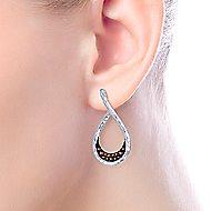 925 Sterling Silver Garnet Lined Pear Shaped Drop Earrings