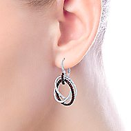 925 Sterling Silver Garnet Triple Circle Drop Earrings
