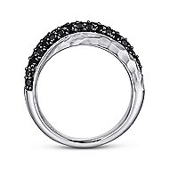 925 Sterling Silver Hammered Black Spinel Ladies Ring