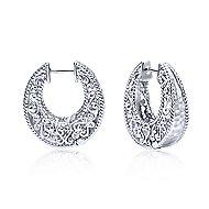 925 Sterling Silver Hammered Texture Huggie Earrings