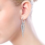 925 Sterling Silver Layered Kite Shape White Sapphire Drop Earrings