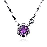 925 Sterling Silver Round Amethyst & Diamond Fashion Necklace