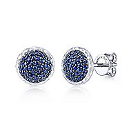 925 Sterling Silver Round Sapphire Cluster Stud Earrings