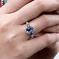 Abbott 14k White Gold Oval Halo Engagement Ring