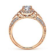 Abel 14k Rose Gold Round Halo Engagement Ring