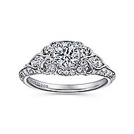 Abel 14k White Gold Round Halo Engagement Ring