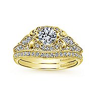 Abel 14k Yellow Gold Round Halo Engagement Ring