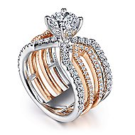 Abia 14k White And Rose Gold Round Split Shank Engagement Ring