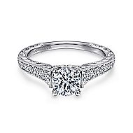 Abigail 14k White Gold Round Straight Engagement Ring angle 1