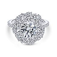 Ace 18k White Gold Round Halo Engagement Ring angle 1