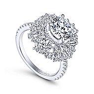 Ace 18k White Gold Round Halo Engagement Ring angle 3