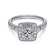 Addison 14k White Gold Princess Cut Halo Engagement Ring angle 1