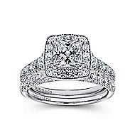 Addison 14k White Gold Princess Cut Halo Engagement Ring angle 4