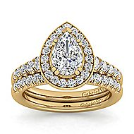Addison 14k Yellow Gold Pear Shape Halo Engagement Ring angle 4