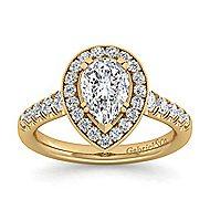 Addison 14k Yellow Gold Pear Shape Halo Engagement Ring angle 5