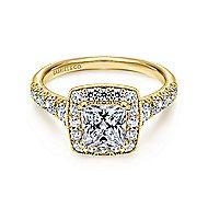 Addison 14k Yellow Gold Princess Cut Halo Engagement Ring angle 1