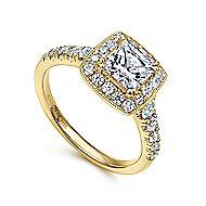 Addison 14k Yellow Gold Princess Cut Halo Engagement Ring angle 3