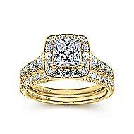Addison 14k Yellow Gold Princess Cut Halo Engagement Ring angle 4
