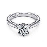 Adela 18k White Gold Round Solitaire Engagement Ring angle 1