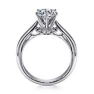 Adela 18k White Gold Round Solitaire Engagement Ring angle 2