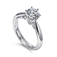 Adela 18k White Gold Round Solitaire Engagement Ring angle 3