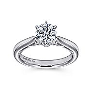 Adela 18k White Gold Round Solitaire Engagement Ring angle 5