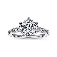Adelaide 18k White Gold Round Straight Engagement Ring angle 5