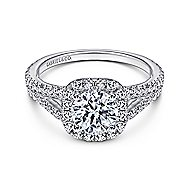 Admire 18k White Gold Round Halo Engagement Ring angle 1