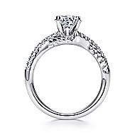 Adrianna 14k White Gold Round Twisted Engagement Ring angle 2