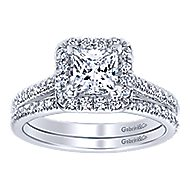 Adrienne 14k White Gold Princess Cut Halo Engagement Ring