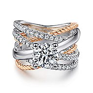 Affection 14k White And Rose Gold Round Twisted Engagement Ring angle 1