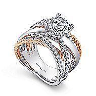 Affection 14k White And Rose Gold Round Twisted Engagement Ring angle 3