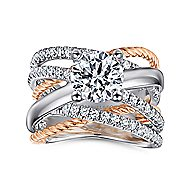 Affection 14k White And Rose Gold Round Twisted Engagement Ring angle 5