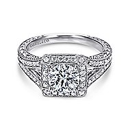 Agatha 14k White Gold Round Halo Engagement Ring angle 1