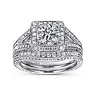 Agatha 14k White Gold Round Halo Engagement Ring angle 4