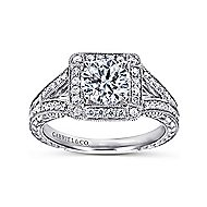 Agatha 14k White Gold Round Halo Engagement Ring angle 5